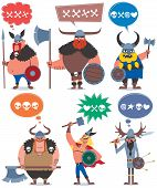 image of thor  - 6 cartoon Vikings over white background.