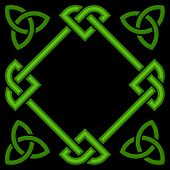 stock photo of triquetra  - Celtic Border Frame Isolated on Black Background - JPG