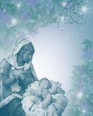 Nativity Christmas Card Religious blue monochrome