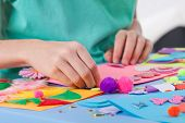 foto of kindergarten  - Little boy making artworks on art lesson at kindergarten - JPG
