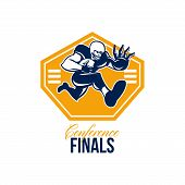 picture of stiff  - Illustration of an american football gridiron running back player running with ball facing front fending putting out a stiff arm set inside shield done in retro style with words Conference Finals - JPG