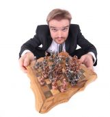 picture of imbecile  - chess player isolated on the white background - JPG
