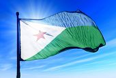 Djibouti flag waving on the wind