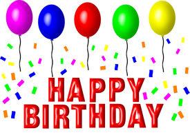 stock photo of happy birthday  - A Happy Birthday sign with balloons and graffiti - JPG