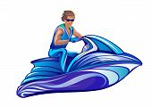 picture of ski boat  - Vector illustration of a man sitting on water scooter jet ski on white background - JPG