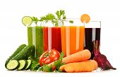 picture of juices  - Glasses with fresh vegetable juices isolated on white - JPG