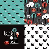 image of orange kitten  - Seamless kids halloween illustration pumpkin cat background pattern and trick or treat cover design in vector - JPG
