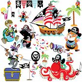 picture of the hare tortoise  - set with cartoon animals pirates - JPG