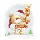 stock photo of teddy  - Cute teddy bear with the big red gift in the Santa hat - JPG