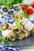 image of sorrel  - Rolls from an omelet with a sorrel and bacon for breakfast - JPG