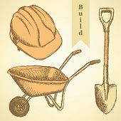 stock photo of hand-barrow  - Sketch helmet barrow and shovel vector vintage background - JPG
