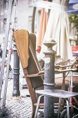 foto of thrift store  - old arm chair and stuff on a flea market vintage version - JPG