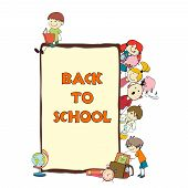 stock photo of retort  - Decorative back to school kids educational accessories geography books books map banner poster doodle  sketch vector illustration - JPG