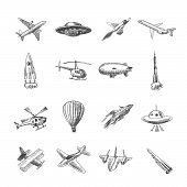pic of helicopters  - Aircraft helicopter military aviation airplane sketch icons set isolated vector illustration - JPG