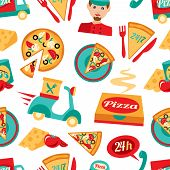picture of food truck  - Fast food pizza delivery 24h ingredients seamless pattern vector illustration - JPG