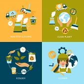 stock photo of truck-stop  - Business concept flat icons set of ecology non stop planet cleaning green elements infographic design elements vector illustration - JPG