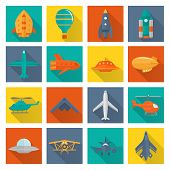 pic of helicopters  - Aircraft helicopter military aviation airplane flat shadowed icons set isolated vector illustration - JPG