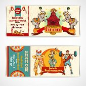 foto of circus clown  - Two vintage circus incredible clown show entrance tickets templates with strongman barbells set isolated vector illustration - JPG