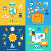 image of amaze  - Business concept flat icons set of travel splendid journey amazing vacation and exciting camping infographic design elements vector illustration - JPG
