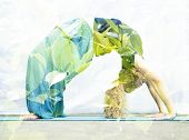 pic of dhanurasana  - Double exposure portrait of young woman performing back bend combined with photograph of nature - JPG