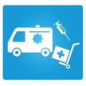 stock photo of medical supplies  - medical supply symbol in blue square button - JPG