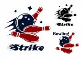 stock photo of striking  - Bowling icons and symbols with the text  - JPG