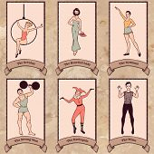 stock photo of harlequin  - Vintage circus characters set - JPG