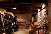 pic of wine cellar  - Expansive Wine Cellar with sandstone block walls below the floor of a house - JPG