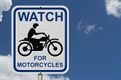 Постер, плакат: Watch For Motorcycles Warning Sign