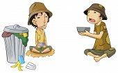 stock photo of dustbin  - Poor beggar icon collection set create by vector - JPG
