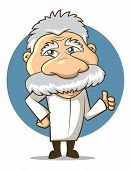 stock photo of albert einstein  - Einstein Styled Cartoon Professor wearing a labcoat - JPG