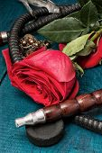picture of shisha  - set foto composition with shisha and accessories - JPG