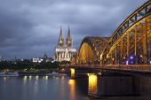 image of koln  - Cologne Cathedral and Hohenzollern Bridge in evening - JPG
