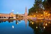 foto of squares  - Spanish Square espana Plaza in Sevilla Spain at dusk - JPG