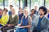 stock photo of audience  - Group of Diverse Multiethnic Cheerful Audience - JPG