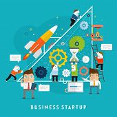 image of hierarchy  - Business Startup Vector Illustration - JPG