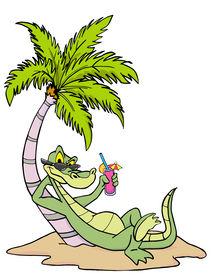 foto of gator  - Hand drawn cartoon gator relaxing under a palm tree - JPG