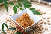 image of soybeans  - studio shot of soybean paste MISO and soybeans - JPG