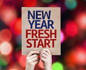image of fresh start  - New Year Fresh Start card with colorful background with defocused lights - JPG