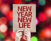 image of life event  - New Year New Life card with colorful background with defocused lights - JPG