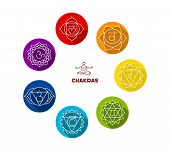 picture of kundalini  - Vector illustration of Chakra color flat set - JPG