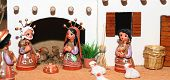 stock photo of nativity scene  - statues of the Nativity scene with Holy Family Mexican style - JPG