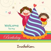 image of cute kids  - Kids birthday celebration Invitation card with cute and happy kids escaping behind birthday cap - JPG