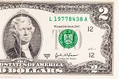 stock photo of two dollar bill  - United States two dollar bill - JPG