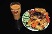 stock photo of nasi  - Homemade Nasi lemak with mix fruit juice - JPG