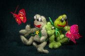 stock photo of baby frog  - Artistic compositions with knitted animals - JPG