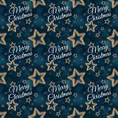 stock photo of iron star  - White Merry Christmas on the night stars seamless pattern on the blue background - JPG