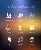 foto of physicist  - Set of occupations icons  - JPG