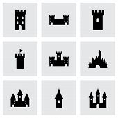 pic of art gothic  - Vector castle icon set on grey background - JPG