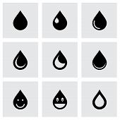 stock photo of rain-drop  - Vector drop icon set on grey background - JPG